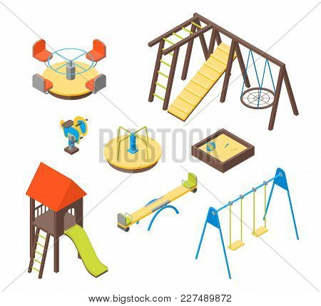 Kid Playground Elements 3d Icons Set Isometric View Include Of Swing, Toy, Sandbox, Seesaw, Ladder A