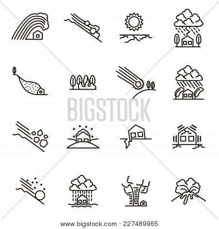 Natural Disaster Signs Black Thin Line Icon Set Include Of Earthquake, Fire, Hurricane, Storm, Volca
