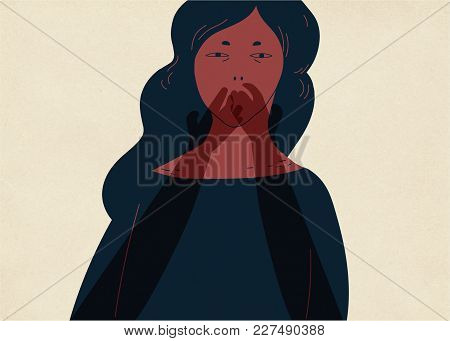 Pair Of Translucent Ghostly Hands Covering Mouth Of Young Woman. Concept Of Inability To Tell About