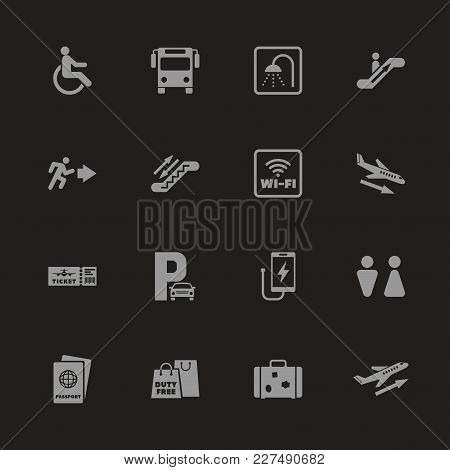 Airport Icons - Gray Symbol On Black Background. Simple Illustration. Flat Vector Icon.