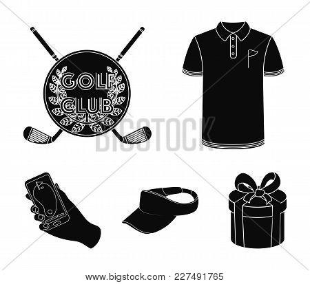 Emblem Of The Golf Club, Cap With A Visor, Golfer Shirt, Phone With A Navigator.golf Club Set Collec