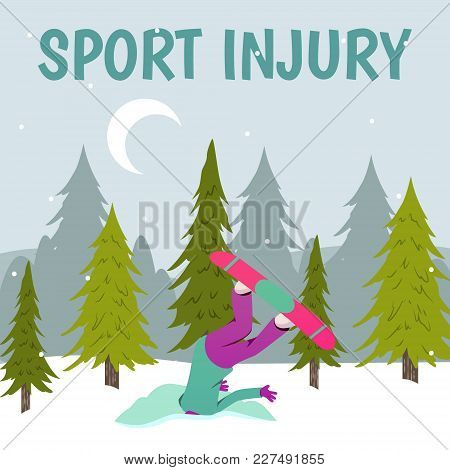Sport Injury Flat Colorful Composition With Winter Landscape With Trees Snow And Human Character Of