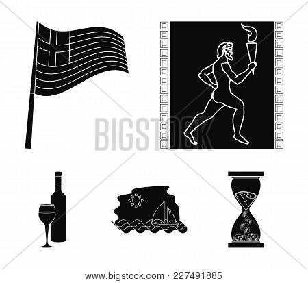 Greece, Running, Wine, Flag .greece Set Collection Icons In Black Style Vector Symbol Stock Illustra