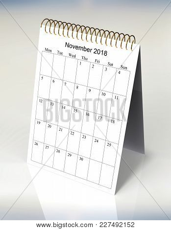 The Original Calendar For November, 2018.  The Beginning Of Week - Monday