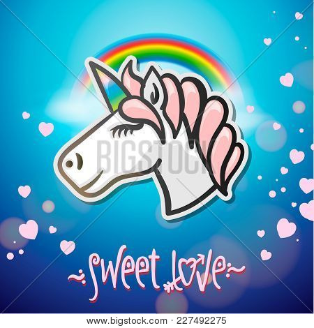 Cute Unicorn Animal, Stickers And Hand Drawn Letters, Vector Illustration.