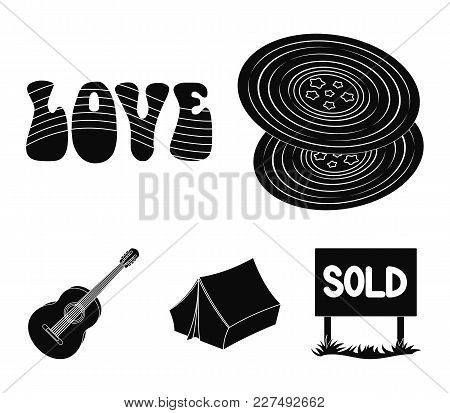 Vinyl Discs, Guitar, Tent.hippy Set Collection Icons In Black Style Vector Symbol Stock Illustration
