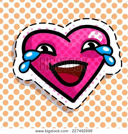 Red Heart Crying With Laughter On Dots Background. Art Design For Valentines Day Greetings And Card