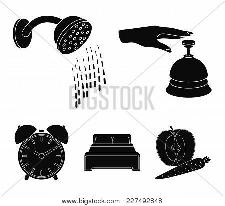 Call At The Reception, Alarm Clock, Bed, Shower.hotel Set Collection Icons In Black Style Vector Sym