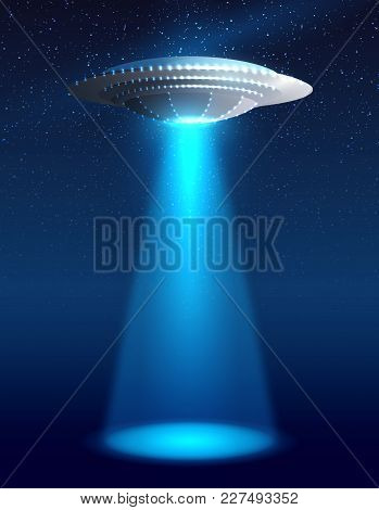 Alien Realistic Spaceship With Light Night Sky And Stars Vector Illustration