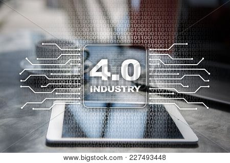 Industry 4.0 Iot Internet Of Things Smart Manufacturing Concept. Industrial 4.0 Process Infrastructu