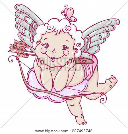 Angel Or Cupid In Hand Drawn Style. Angel With A Butterfly On A Cloud With Arrows . Vector Template