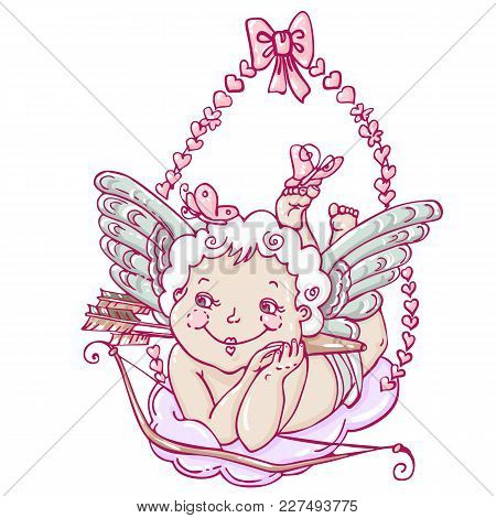 Angel Or Cupid In Hand Drawn Style. Angel With Butterflies On A Cloud With Arrows And Bow. Vector Te
