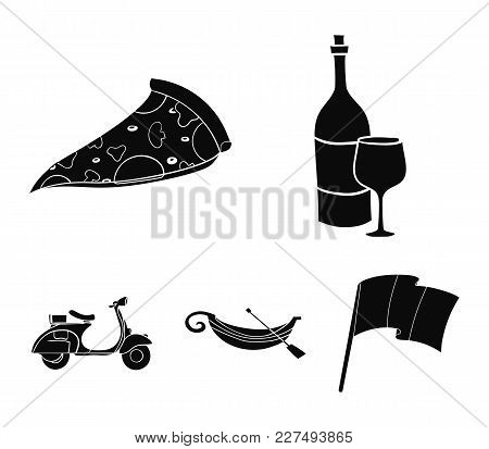 A Bottle Of Wine, A Piece Of Pizza, A Gundola, A Scooter. Italy Set Collection Icons In Black Style