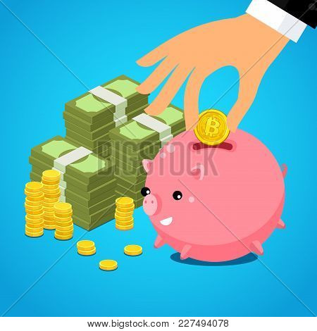 Concept Of Crypto-currency. Hand Putting Bitcoin Dollar Into Saving Piggy Bank. Currency Conversion.
