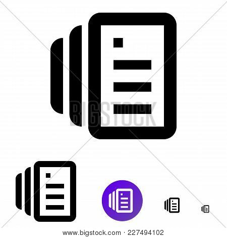 Document Icon For Business, E-commerce. Vector Line Icon Of Different Sizes 192px, 108px, 48px, 24px