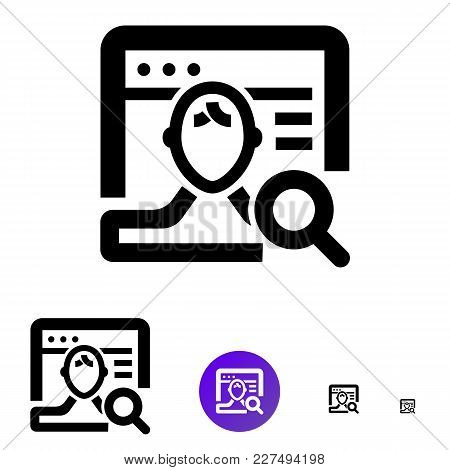 Client Search Icon For Business, E-commerce. Vector Line Icon With The Image Of Magnifier, Man And B