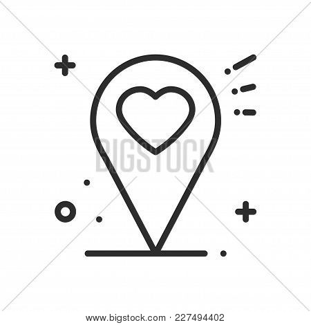 Location Line Icon. Map Pin Pointer Sign And Symbol. Navigation. Heart Shape