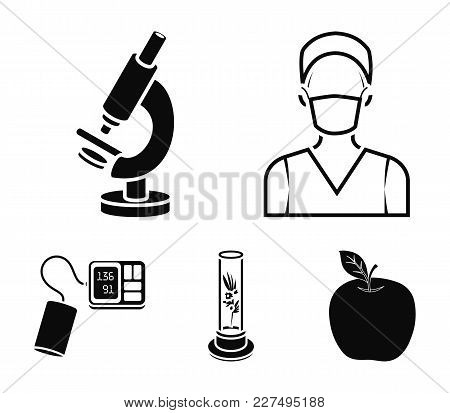 Plant In Vitro, Nurse, Microscope, Tonometer. Medicine Set Collection Icons In Black Style Vector Sy