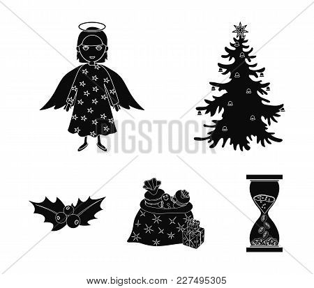 Christmas Tree, Angel, Gifts And Holly Black Icons In Set Collection For Design. Christmas Vector Sy