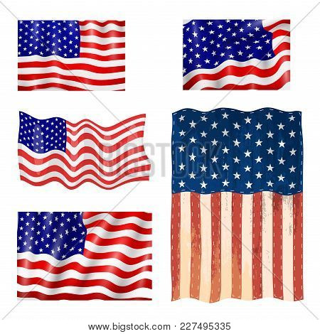 Independence Day Usa Flags United States American Symbol Freedom National Emblem Vector Illustration