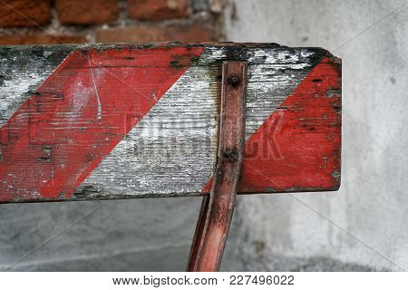 Red And White Lines Of Wooden Barrier . At Subway Station Of Airport Background Red White Warning Fe