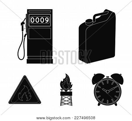 Canister For Gasoline, Gas Station, Tower, Warning Sign. Oil Set Collection Icons In Black Style Vec