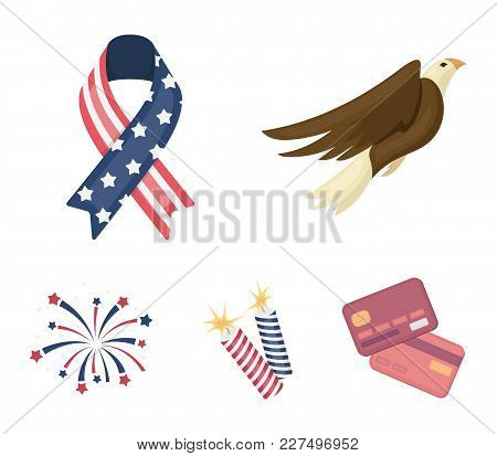 American Eagle, Ribbon, Salute. The Patriot's Day Set Collection Icons In Cartoon Style Vector Symbo
