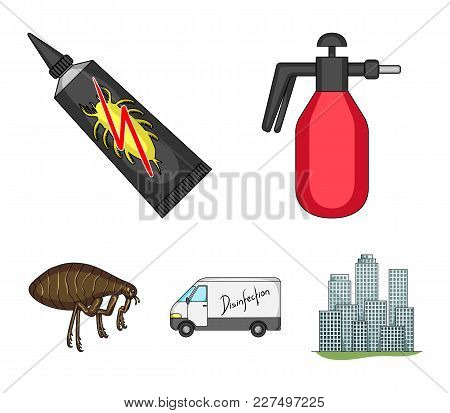 Flea, Special Car And Equipment Cartoon Icons In Set Collection For Design. Pest Control Service Vec