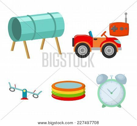 Machine For Radio Control, Tunnel, Trampoline, Swing. Playground Set Collection Icons In Cartoon Sty