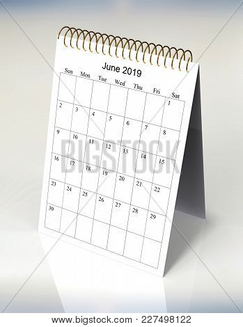 The Original Calendar For June, 2019.  The Beginning Of Week - Sunday