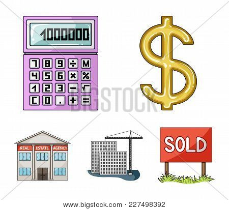 Calculator, Dollar Sign, New Building, Real Estate Offices. Realtor Set Collection Icons In Cartoon