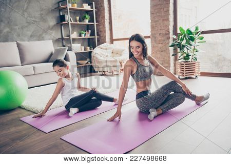 Wellbeing Wellness Vitality Concept. Sportive Active Will-powered Wearing Sport Clothes Mom Is Sitti