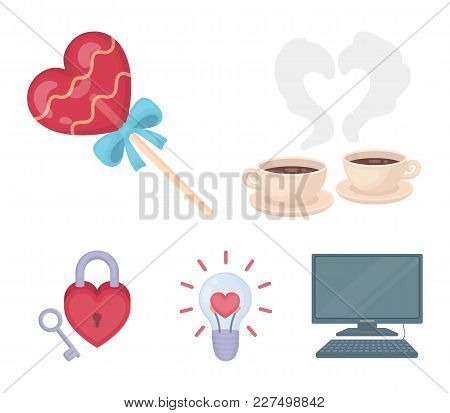 Cups With Coffee, Valentine, Lamp, Lock With Key. Romantic Set Collection Icons In Cartoon Style Vec