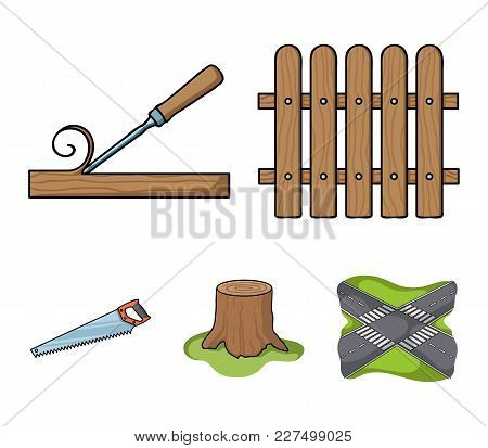 Fence, Chisel, Stump, Hacksaw For Wood. Lumber And Timber Set Collection Icons In Cartoon Style Vect