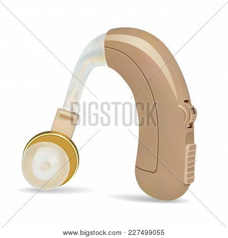 Hearing Aid Behind The Ear. Sound Amplifier For Patients With Hearing Loss. Treatment And Prosthetic