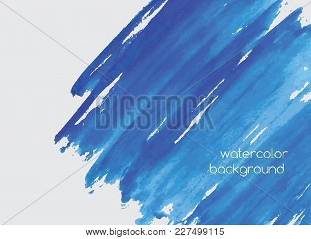 Abstract Hand Painted Watercolor Horizontal Background With Paint Blots, Scribbles, Stains Or Smears
