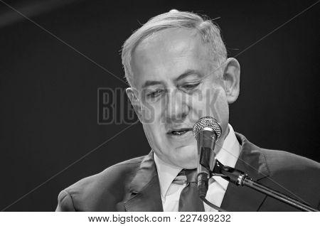 Jerusalem, Israel. June 14, 2016. Prime Minister Of Israel Benjamin Netanyahu Giving An Address At T