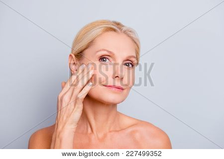 Pretty, Charming, Attractive Woman Touching, Enjoying Her Perfect Face Skin, Holding Fingers On Chee