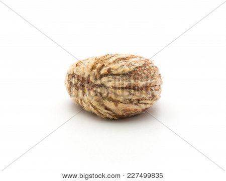 Peeled European Chestnut One Spanish Edible Isolated On White Background Raw Fresh Brown Nut