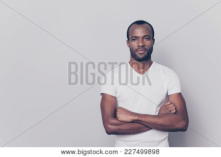 Portrait With Empty Place, Copy Space Of Sexy, Brutal, Stunning Man In White T-shirt Having His Arms