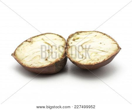 One Sliced European Chestnut Isolated On White Background One Spanish Edible Cut In Two Halves Raw F