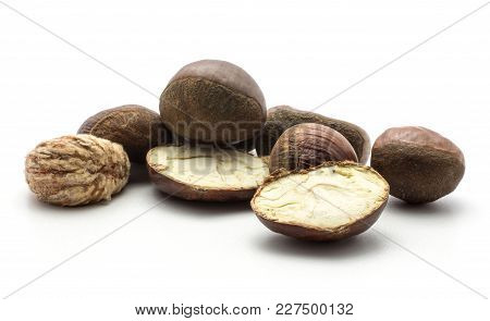 European Chestnuts Two Halves Spanish Edible And One Peel Isolated On White Background Raw Fresh Bro