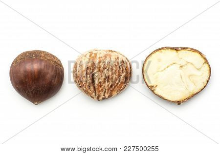 European Chestnuts Spanish Edible Compare Isolated On White Background Raw Fresh Brown Nuts Top View