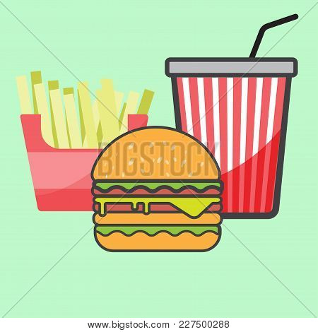 French Fries And Hamburger And Red Paper Cup Drink.