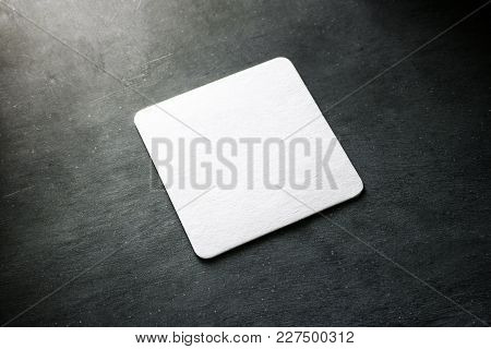 Blank White Square Beer Coaster Mockup Lying On The Textured Background. Squared Clear Design Mock U