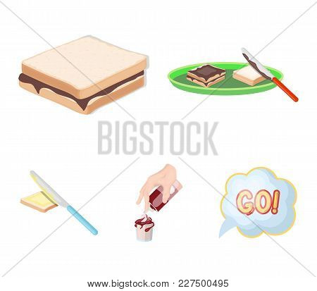 Dessert With Cream, A Sandwich And Other Food. Food Set Collection Icons In Cartoon Style Vector Sym