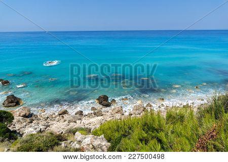 Panoramic View Of Agios Nikitas Beach With Blue Waters, Lefkada, Ionian Islands, Greece