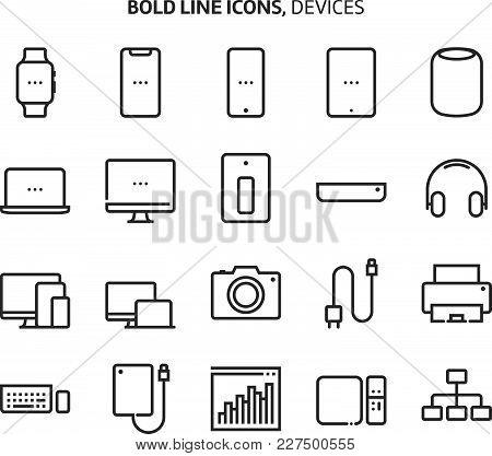 Devices, Bold Line Icons. The Illustrations Are A Vector, Editable Stroke, 48x48 Pixel Perfect Files