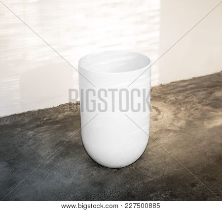 Blank White Opened Trash Urn Mockup Side View. Empty Rubbish Mockup Isolated. Clear Ceramic Litter-b