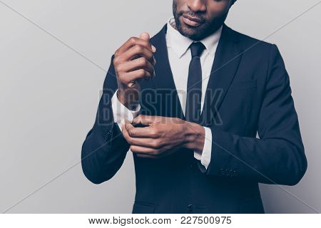 Cropped Half Face Portrait Of Trendy, Attractive, Stunning Man In Black Tuxedo With Tie Fasten Butto
